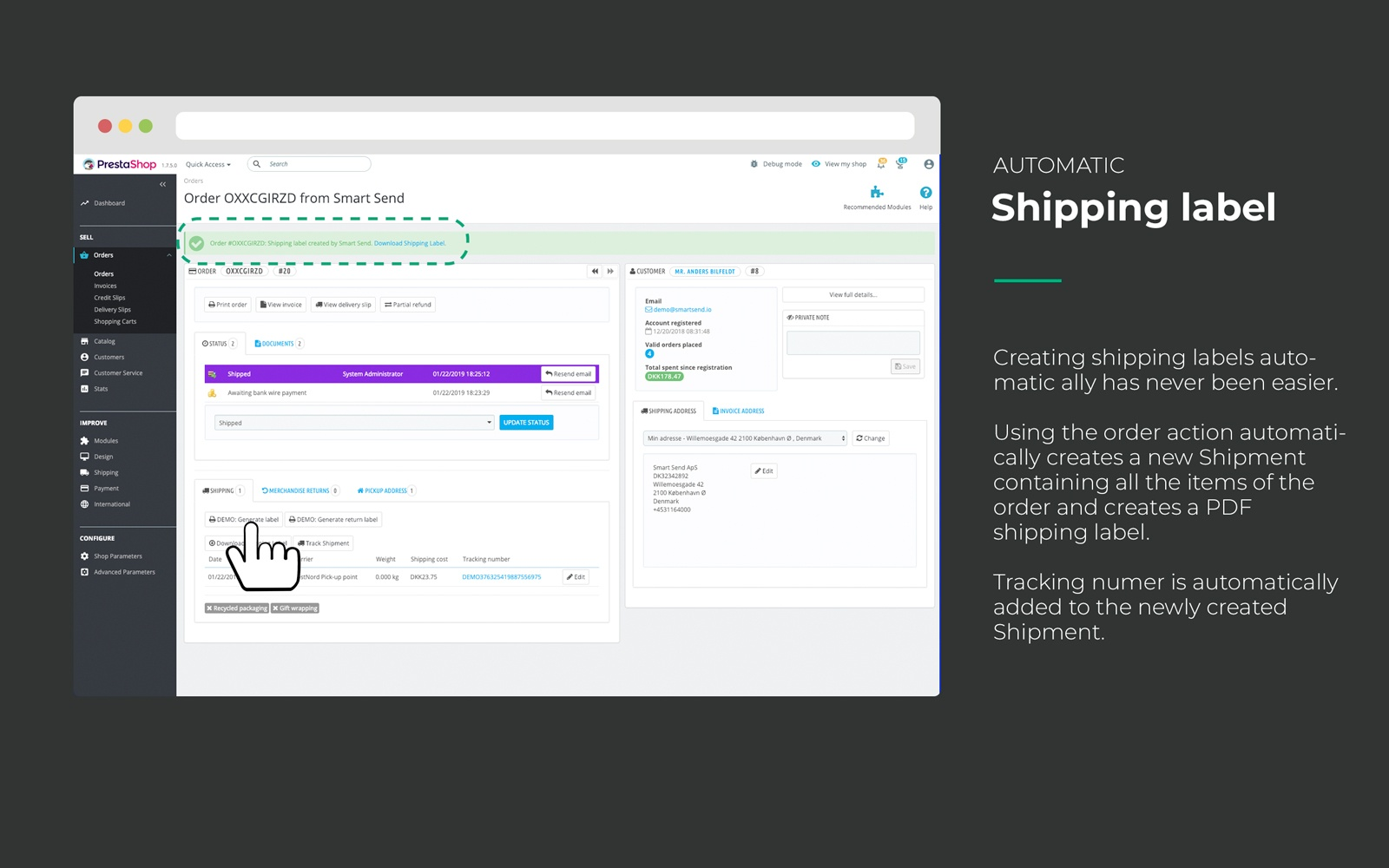 Create shipping labels from the order