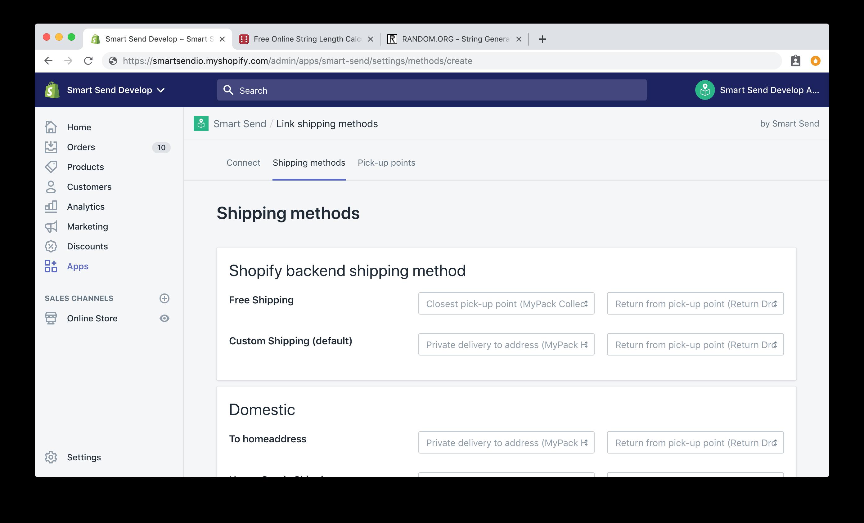 Add shipping methods using Smart Send
